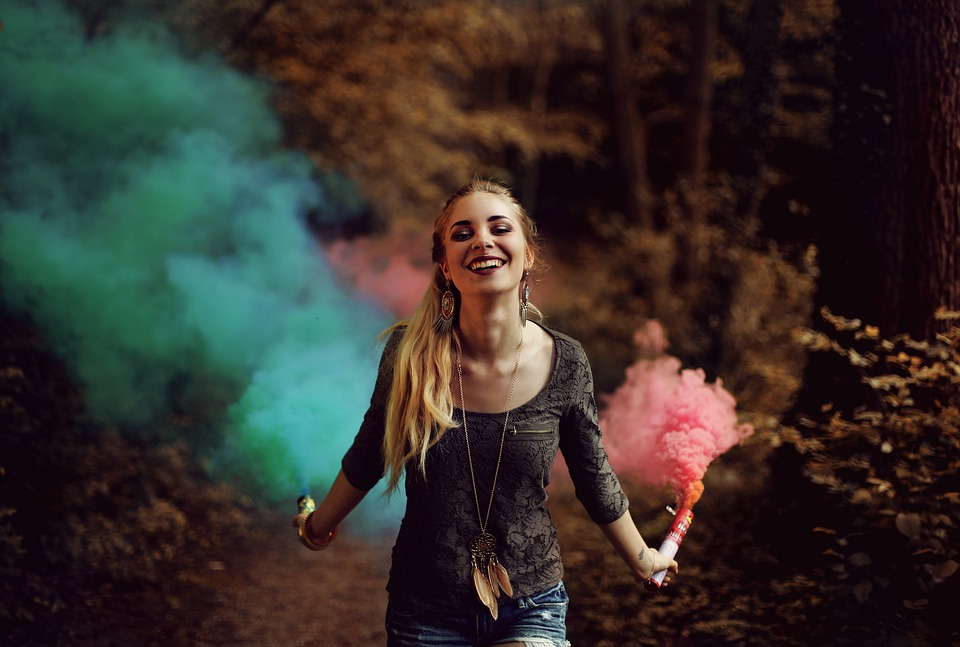 Pink and Blue smoke